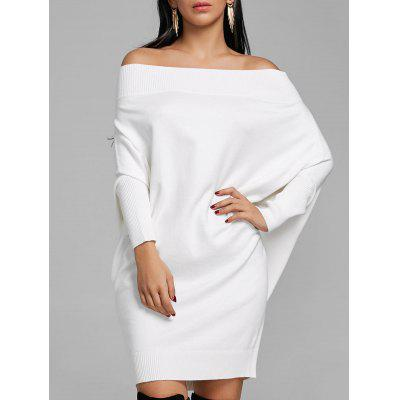 Buy WHITE XL Off The Shoulder Batwing Sleeve Kint Dress for $34.64 in GearBest store