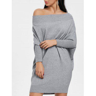 Buy GRAY XL Off The Shoulder Batwing Sleeve Kint Dress for $34.64 in GearBest store