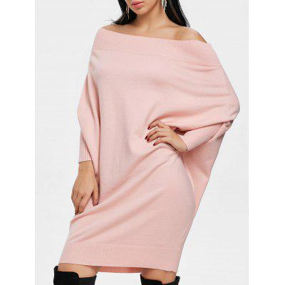 Buy PINK M Off The Shoulder Batwing Sleeve Kint Dress for $34.64 in GearBest store