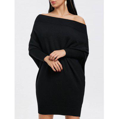 Buy BLACK S Off The Shoulder Batwing Sleeve Kint Dress for $34.64 in GearBest store