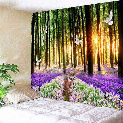 Forest Flower Sea Deer Print Wall Tapestry