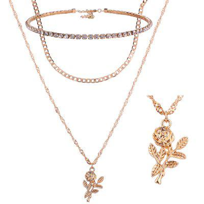 Strass Rose Blume Halskette Set