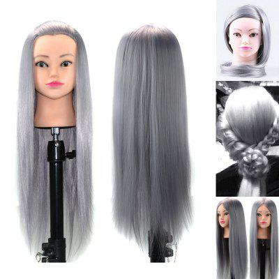 Long Straight Synthetic Wig Head Mannequin Clamp For Practice Training