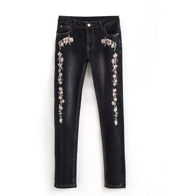 Embroidered Bleach Wash Pencil Jeans