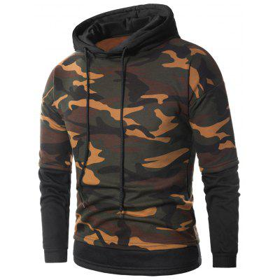 Faux Twinset Camouflage Fleece Pullover Hoodie