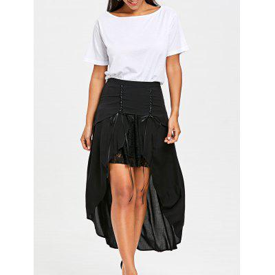 Lace Up Overlay Flowy Skirt