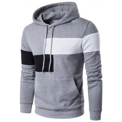 Drawstring Color Block Panel Pullover Hoodie