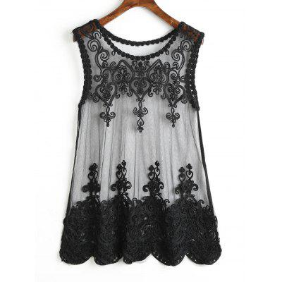 Sheer Tulle Floral Beach Tank Top