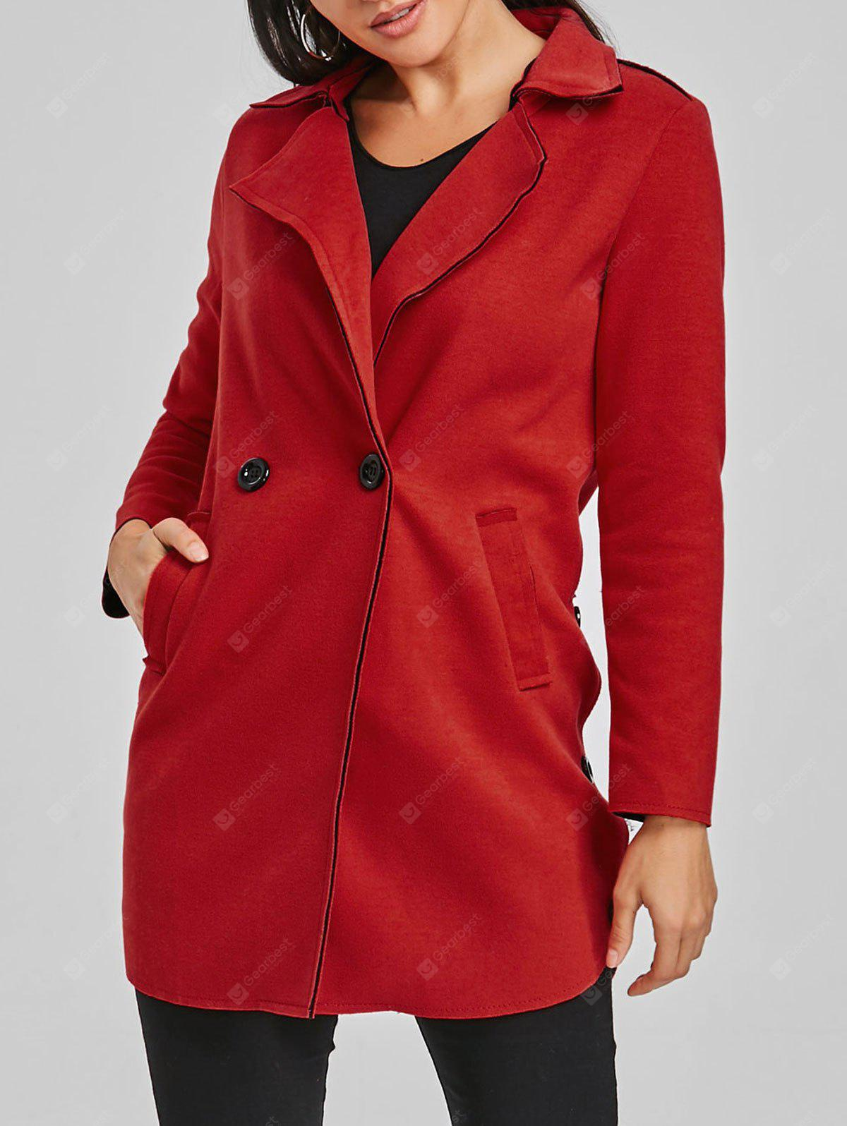 Lapel Two Button Tunic Wool Coat