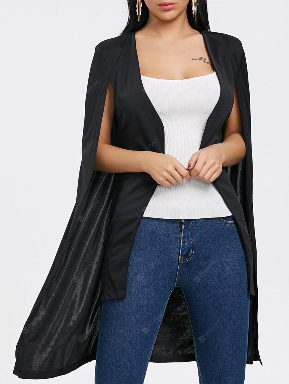 Duster Cape Coat with Padded Shoulder