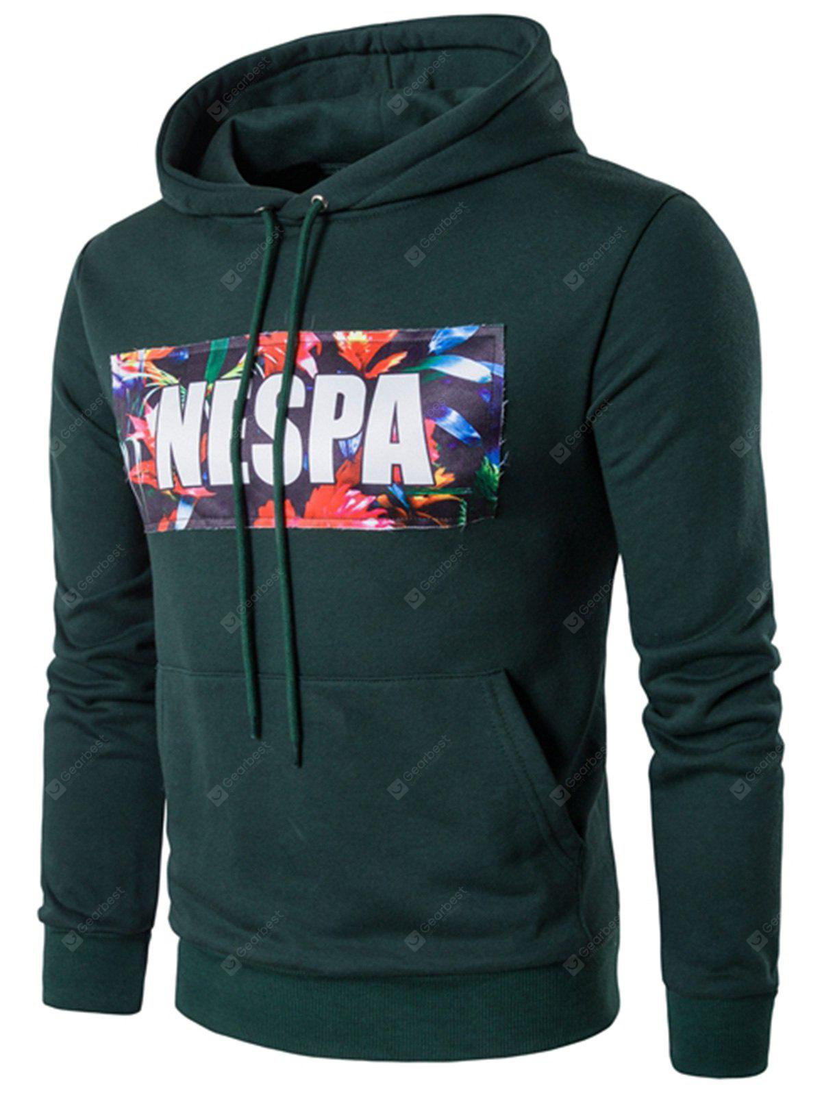 Hooded Graphic Print Applique Pullover Hoodie
