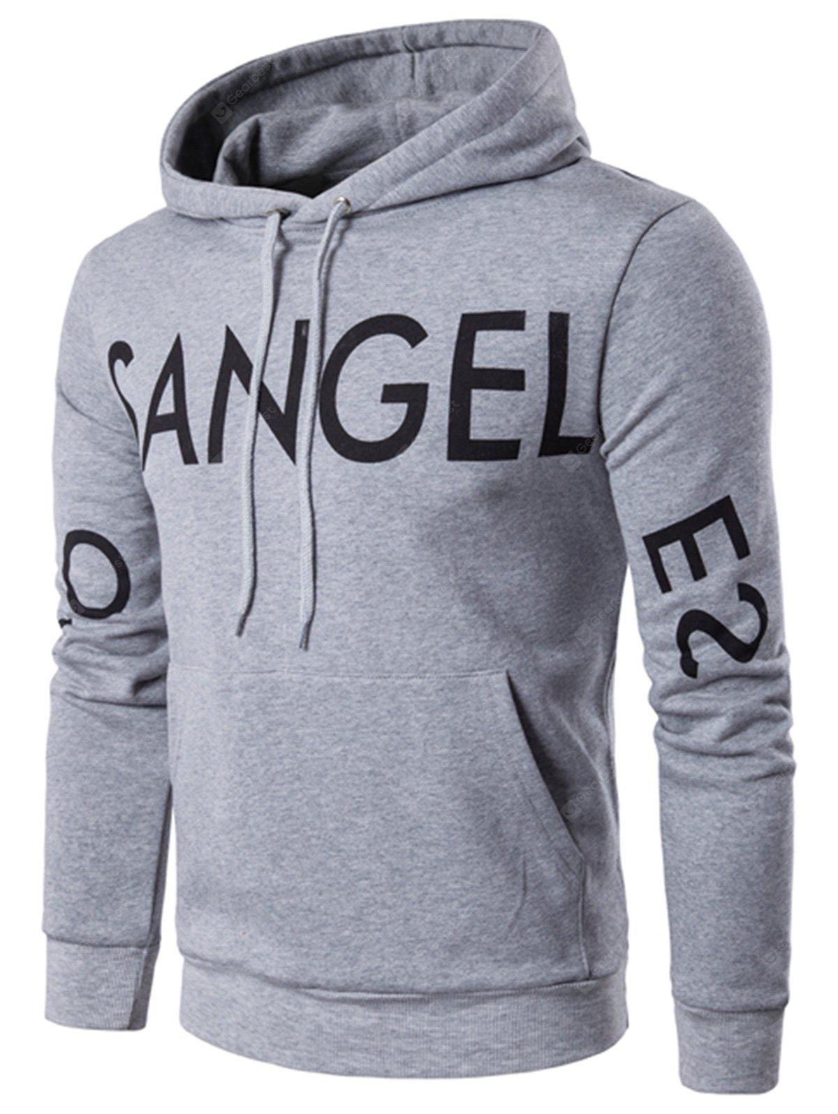 Pocket Drawstring Graphic Print Pullover Hoodie