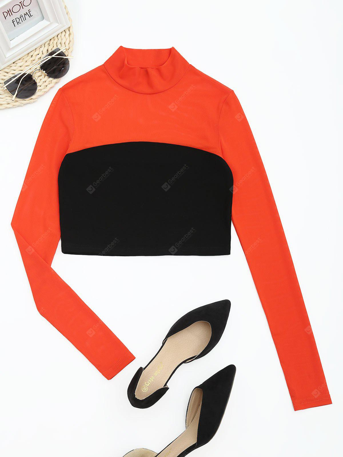 Mesh Panel Contrast High Neck Cropped Tee