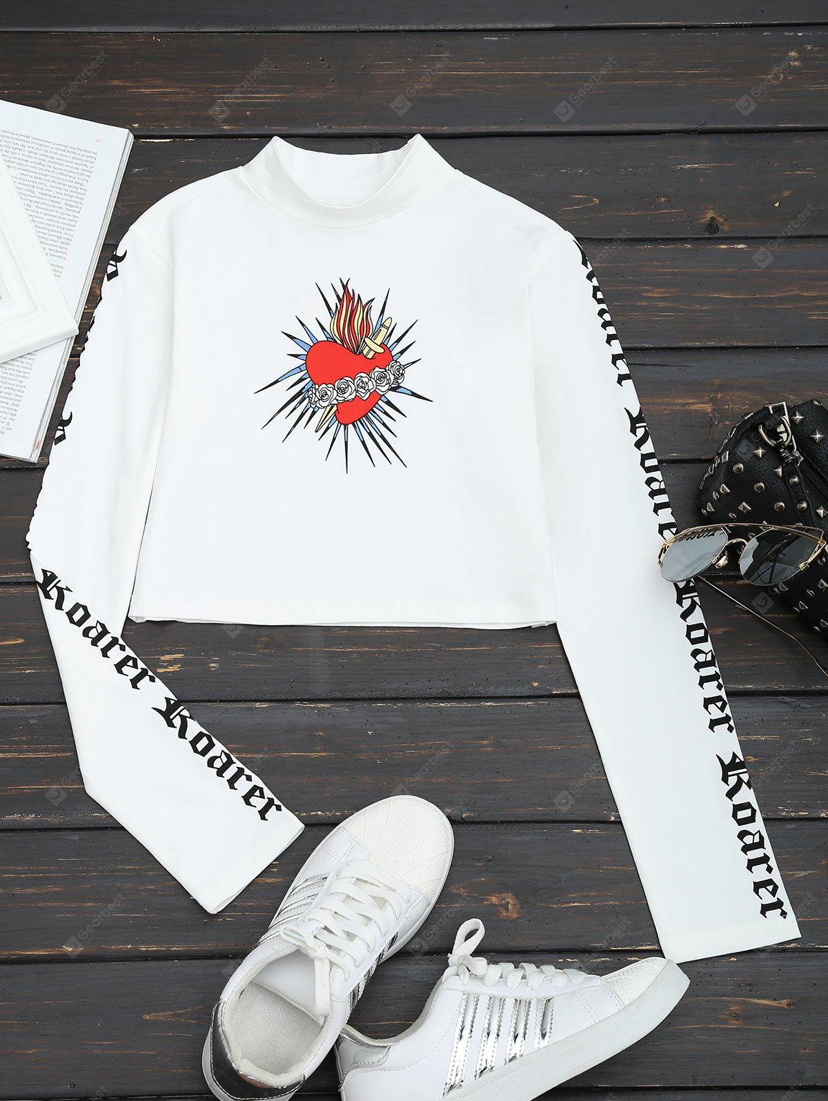 High Neck Floral Print Cropped Tee