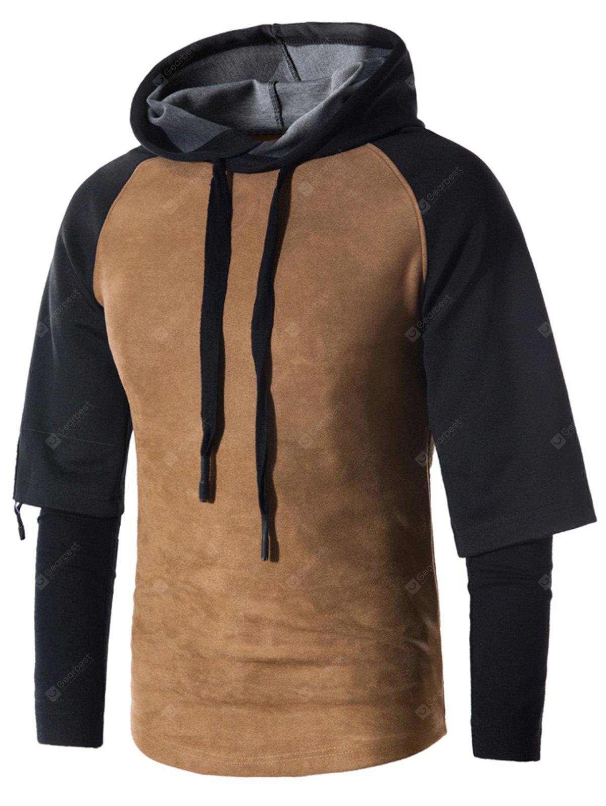 Faux Twinset Suede Panel Drawstring Pullover Hoodie