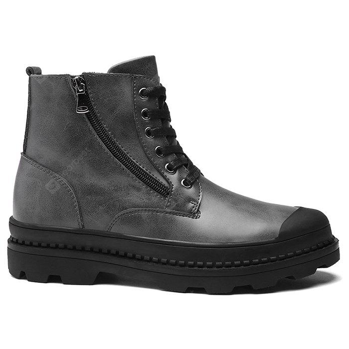 Zip Closure Faux Leather Chukka Boots