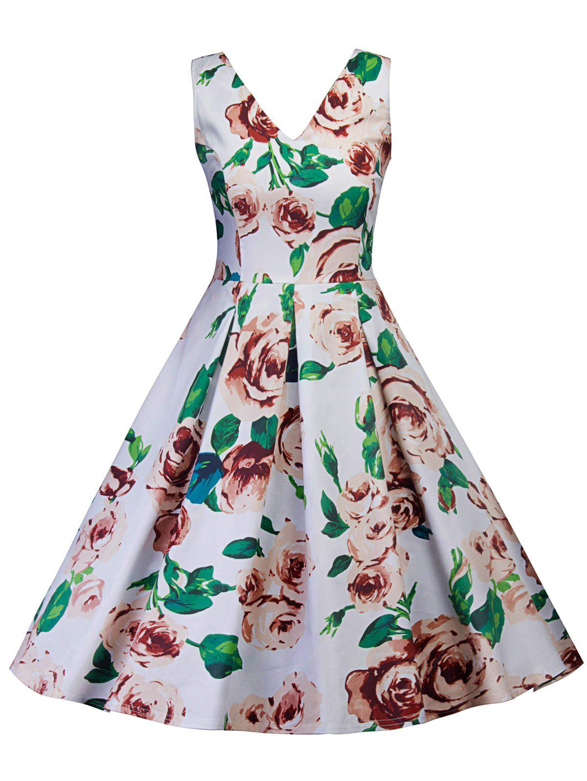 Retro Floral Print Skater Pin Up Dress