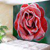 Frost Rose Pattern Wall Hanging Tapestry - RED AND GREEN