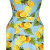 Vintage Halter Lemon Print Pin Up Dress - BLUE AND ORANGE