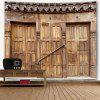 Wall Hanging Wooden Door Pattern Tapestry - WOOD COLOR
