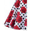Vintage Backless Polka Dot Floral Sakter Dress - RED AND WHITE