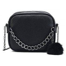 Pompom Faux Leather Chain Crossbody Bag