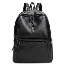 PU Leather Zip Side Pockets Backpack