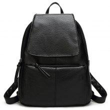 Flap PU Leather Backpack