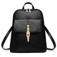 Zip Around Metal Embellished PU Leather Backpack