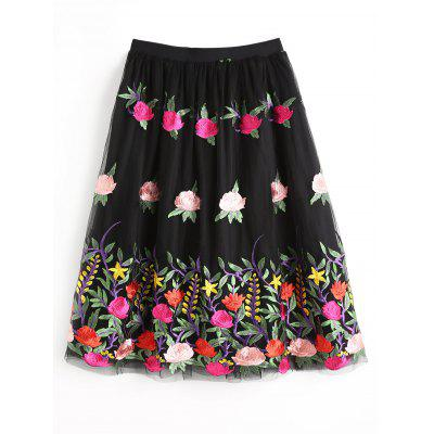 Flower Embroidered Layered Tulle Skirt
