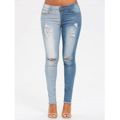 Two Tones Ripped Jeans with Raw Edge