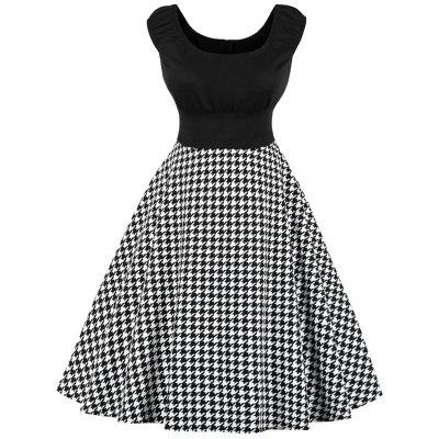 Плюс Размер Houndstooth Версия для печати Cap Sleeve Dress