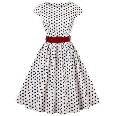 Plus Size Polka Dot Belted Dress