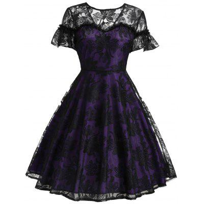 Vintage Bell Sleeve Lace Overlay Dress