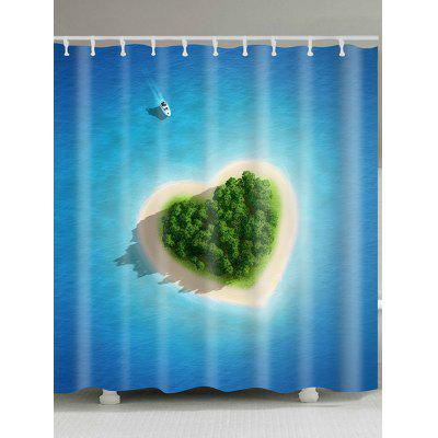 Love Heart Island Pattern Waterproof Shower Curtain