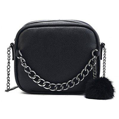 Buy BLACK Pompom Faux Leather Chain Crossbody Bag for $15.19 in GearBest store