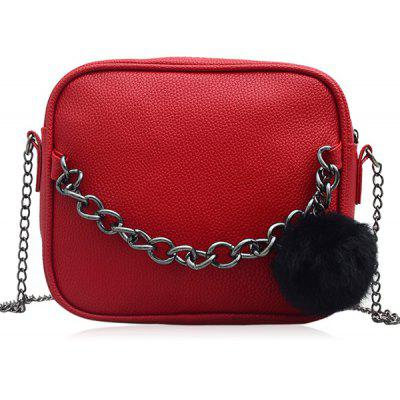 Buy BRIGHT RED Pompom Faux Leather Chain Crossbody Bag for $15.19 in GearBest store