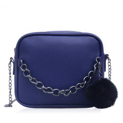 Buy BLUE Pompom Faux Leather Chain Crossbody Bag for $15.19 in GearBest store