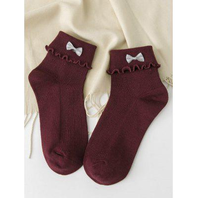 Cute Bowknot Embellished Flanging Knitted Socks