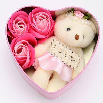 3Pcs Soap Roses and 1Pc Bear in a Iron Box Valentine's Day Gift