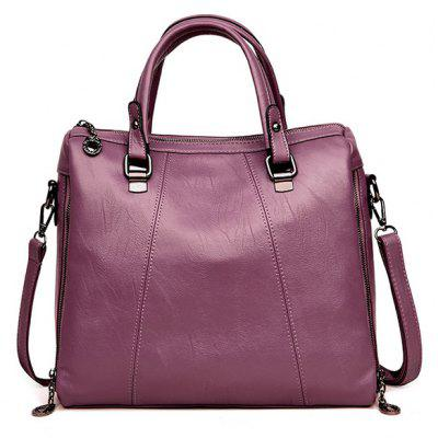 Causal Faux Leather Tote Bag with Strap