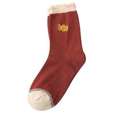 Sweet Candy Embroidery Decorated Cotton Blend Crew Socks
