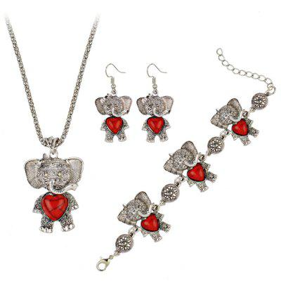 Bohemian Faux Gem Elephant Jewelry Set