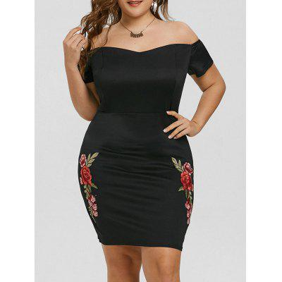 Plus Size Off The Shoulder Floral Embroidered Dress
