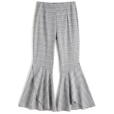Abgestufte Hem Plaid Bell Bottom Hosen