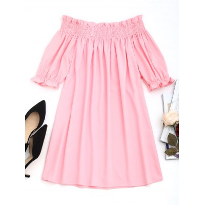 Off Shoulder Smocked Panel Mini Dress