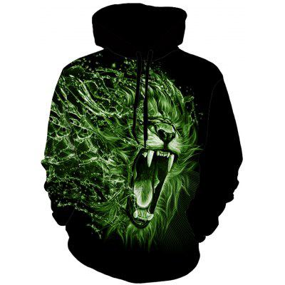 Drawstring 3D Lion Animal Print Hoodie