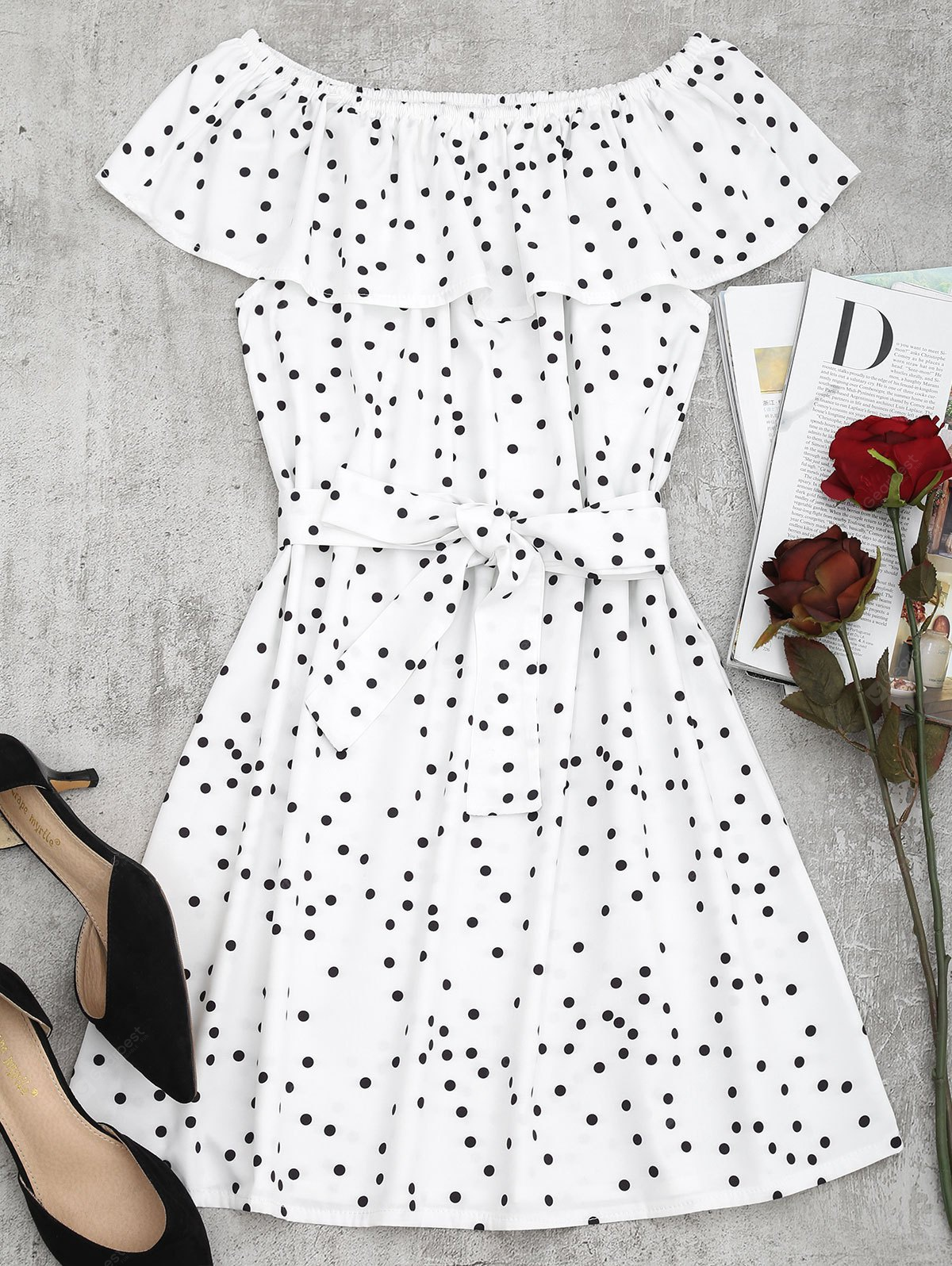 Off Shoulder Overlap Polka Dot Mini Dress