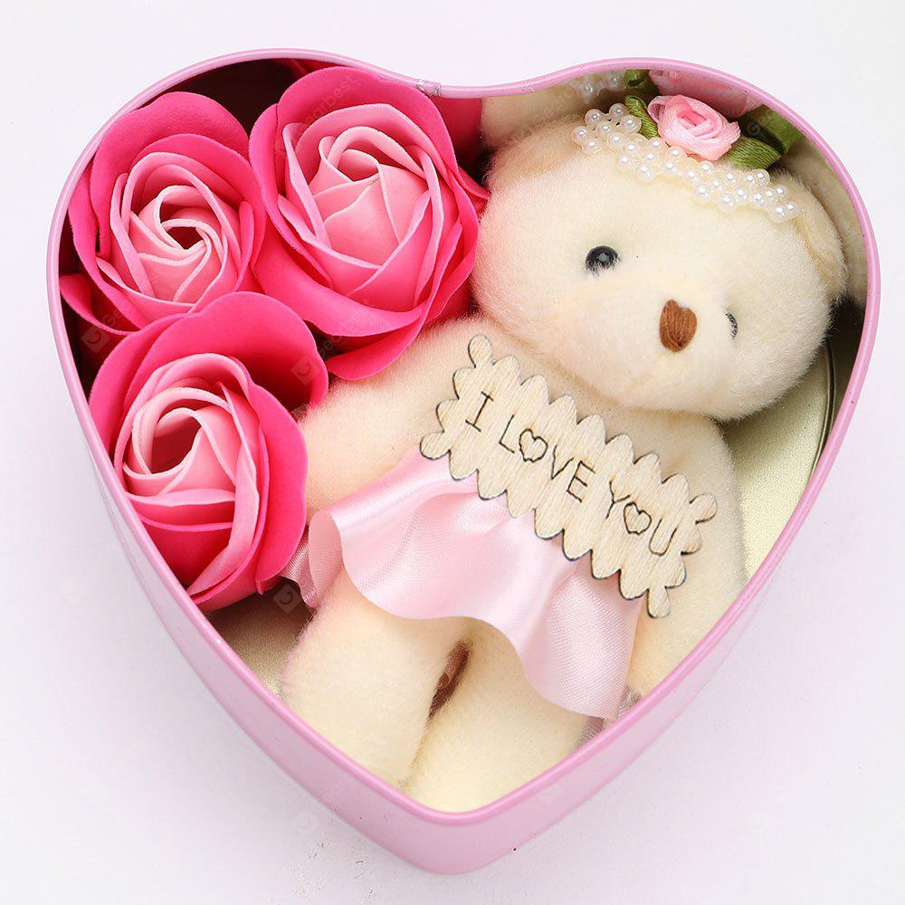 3Pcs Soap Roses and 1Pc Bear in a Iron Box Valentine's Day Gift - PINK 12*11*5CM