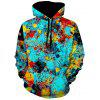 Drawstring 3D Print Pullover Hoodie - COLORMIX